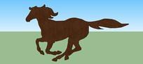 奔跑的马平面雕塑SU模型