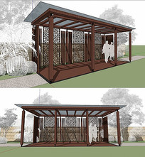 木质廊架su模型