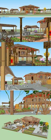 农家院景观建筑模型
