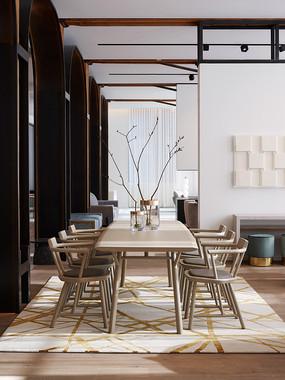 现代中式混合豪宅餐桌