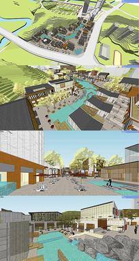 新中式商业广场景观模型