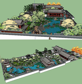 中式荷塘庭院景观su模型