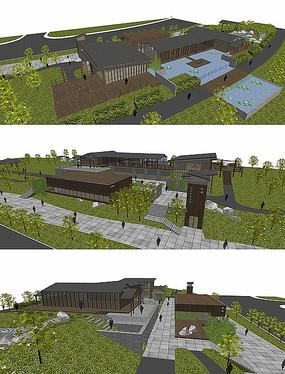 中式会所建筑su模型