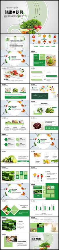 清新绿色健康饮食ppt