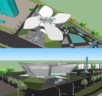 城市展览馆建筑模型