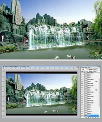 大型假山水系景观设计效果图