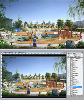 儿童乐园沙坑广场景观效果图