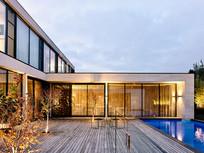 复古现代风豪宅泳池意向