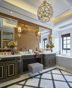 古典高级别墅洗手台意向