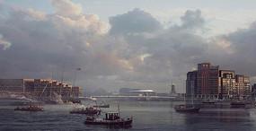 海中作业小船城市景观