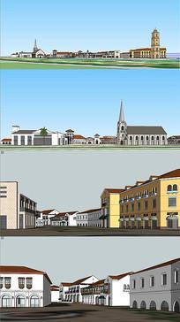 欧式风情商业步行街模型
