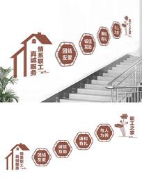 企业职工之家楼梯文化墙