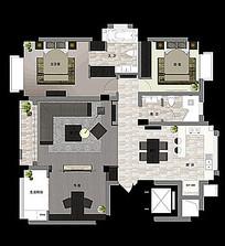 三口家室内平面图