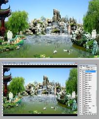 生态假山水系景观设计效果图