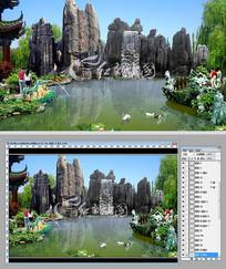 石林假山水系景观设计效果图
