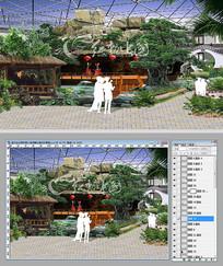 室内生态园假山演绎舞台效果图