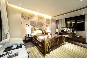 现代大气卧室水墨背景墙