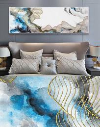 新中式手绘抽象线条色块装饰画