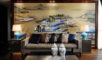 中式工笔画沙发背景墙客厅