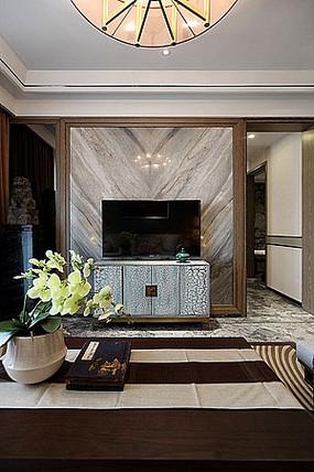 中式客厅简约电视机背景墙