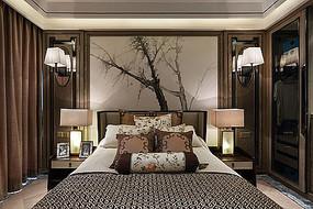 中式水墨背景墙稳重卧室