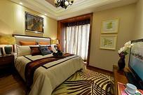 中式卧室传统大床花纹地毯