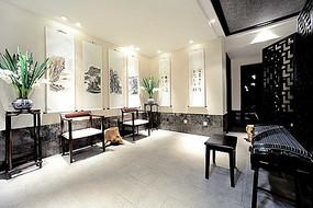 中式字画墙面装饰木椅古筝