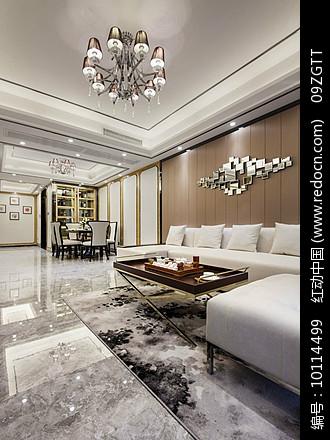 豪华简约现代客厅餐厅室内家具图片