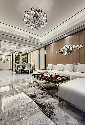 豪华简约现代客厅餐厅室内家具