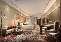 酒店现代客房效果图 JPG