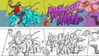 篮球主题街头公园涂鸦墙插画
