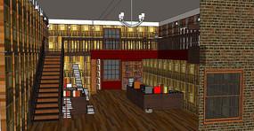 欧式书店场景模型