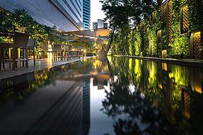 商业庭院休闲水景茶座