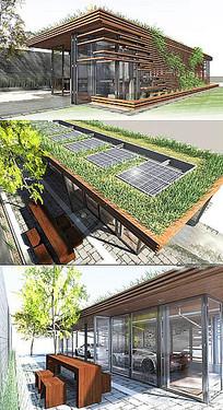 现代阳光房建筑庭院效果图