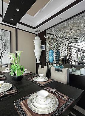 中式餐厅桌椅餐边柜摆件