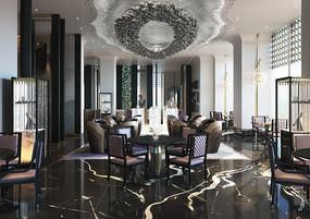 中式奢华酒店餐厅效果图