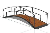 中式庭院小木桥模型