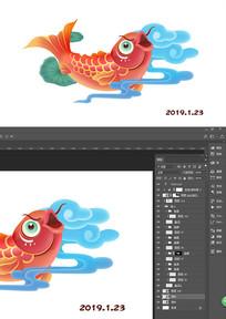 新年锦鲤手绘插画