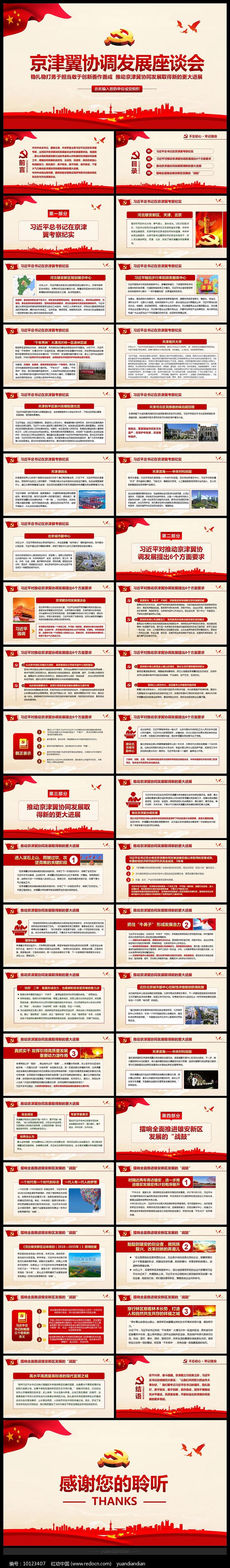 京津冀协同发展座谈会PPT图片