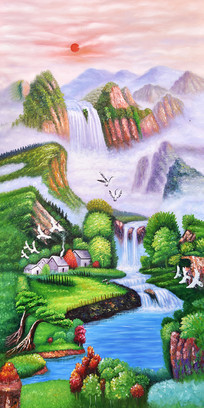 高清手绘高山流水日出油画玄关