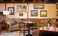 足球杯主题小餐厅沙发间