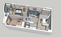 北欧小户型开放式厨房su模型