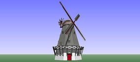 丹麦风车雕塑SU模型
