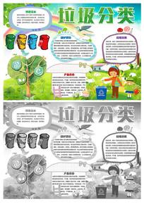 卡通垃圾分类环保节能小报