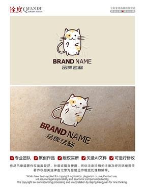 卡通猫宠物店猫科LOGO标志