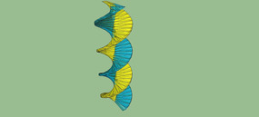 双螺旋线雕塑SU模型