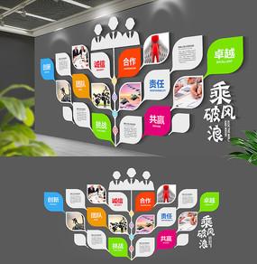 树叶简约企业精神文化墙