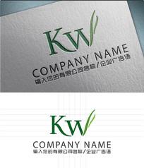 KW字母LOGO标志设计