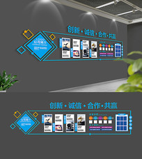 创意蓝色企业文化墙