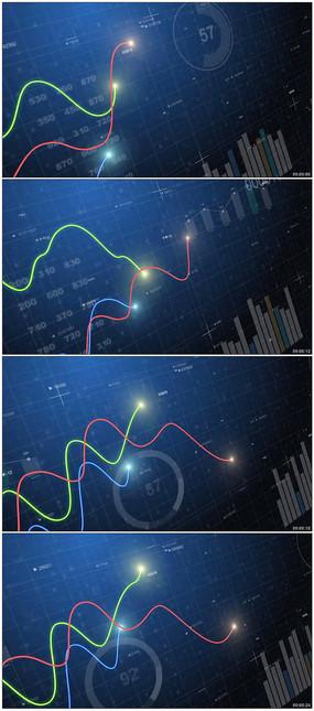曲线统计图表增长视频